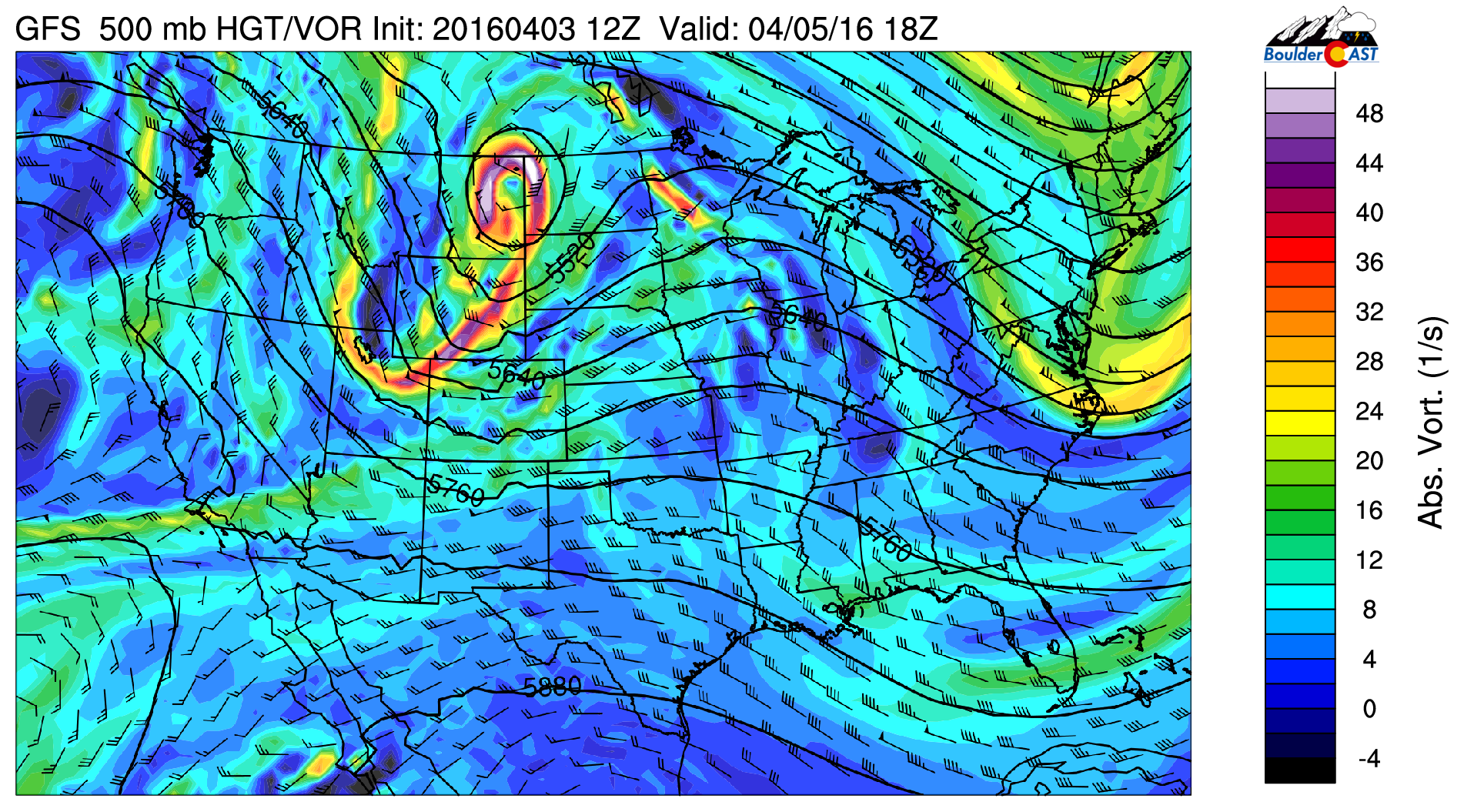 GFS 500 mb absolute vorticity for Tuesday