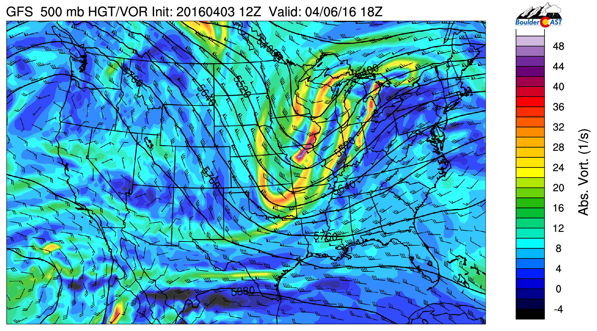 GFS 500 mb absolute vorticity for Wednesday