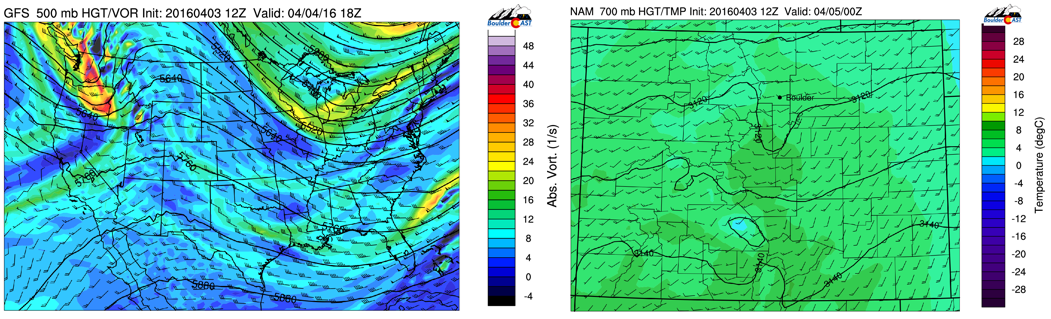 GFS 500 mb vorticity Monday (left) and NAM 700 temp Monday (right)