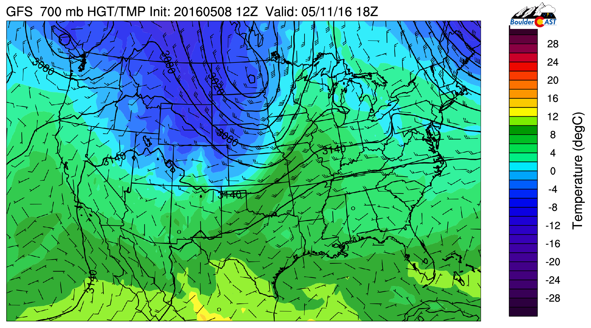700 mb temperature from the GFS for Wednesday