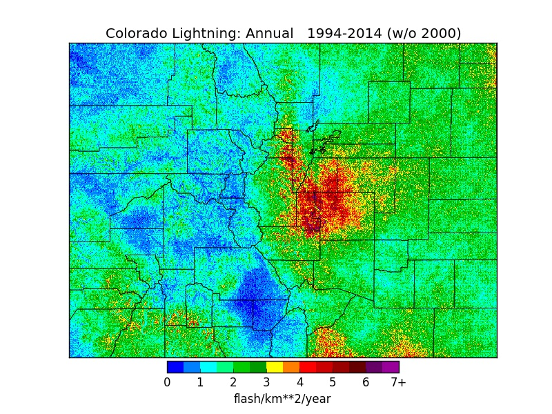 Colorado Lightning Strike Map Why is Colorado one of the most deadly states for lightning