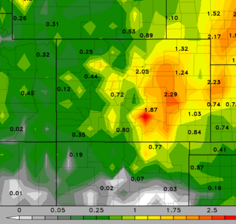 """Latest GFS precip accumulation through Saturday afternoon. 1-2"""" is indicated, with more east of Denver"""