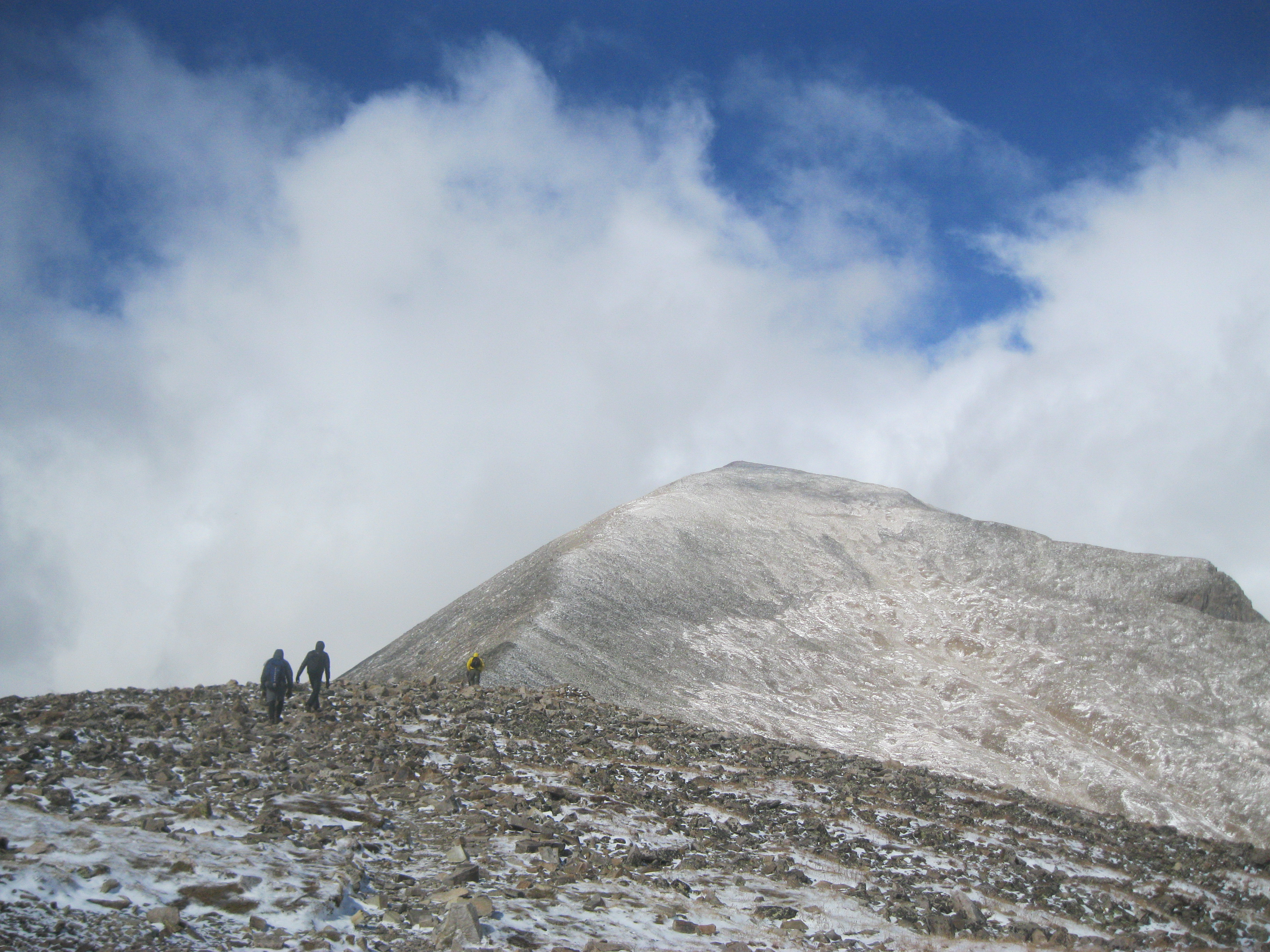 The BoulderCAST team hiking Quandary Peak this past Saturday with fresh snow
