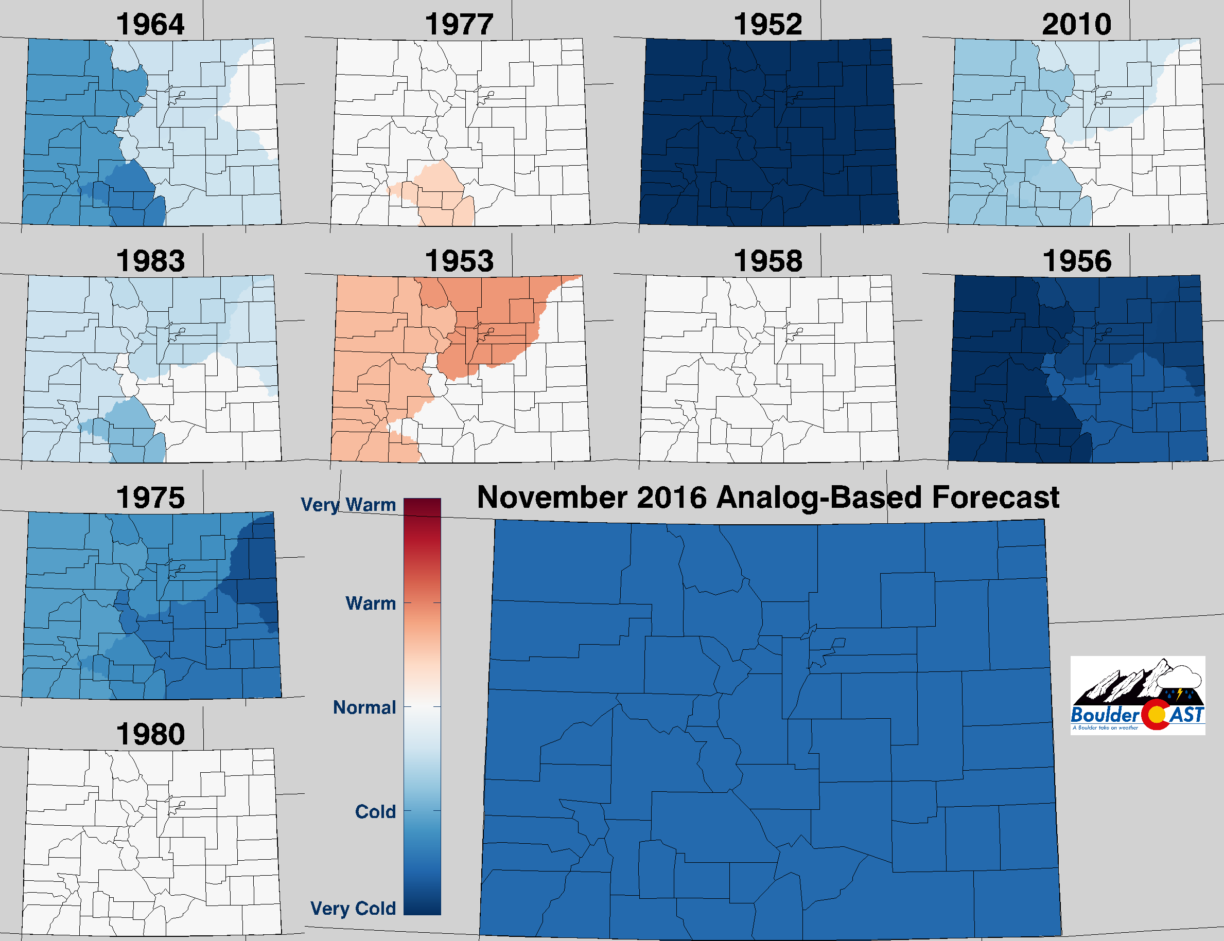 Top 10 Analogs to 2016 and how those years played for TEMPERATURE in Colorado during the month of November. The large map shows the analog-based weighted consensus forecast based on those 10 years.