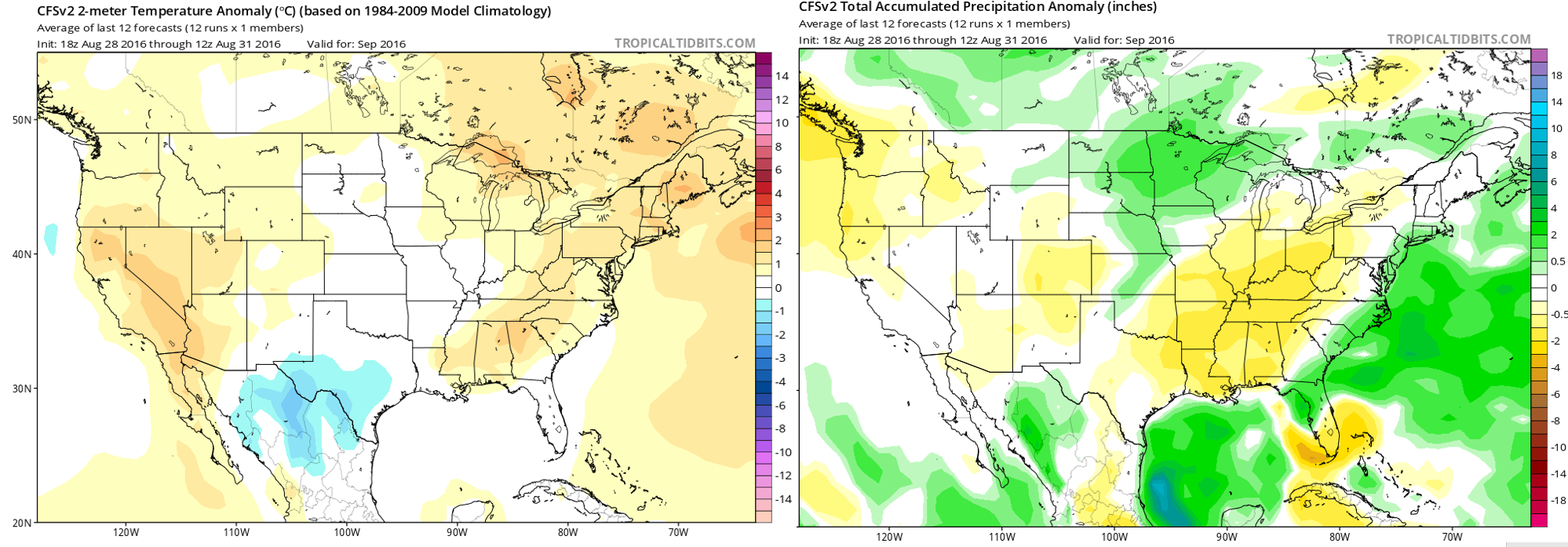 Climate Forecast System model forecast anomalies for September 2016. Temperature (left) and precipitation (right)
