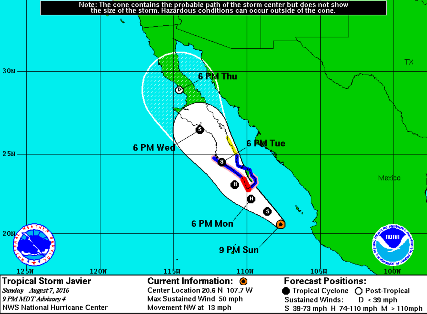 Javier is forecast to become a hurricane and make landfall in western Mexico by mid-week. Strong southerly winds on the eastern side of the storm will advect moisture into Colorado