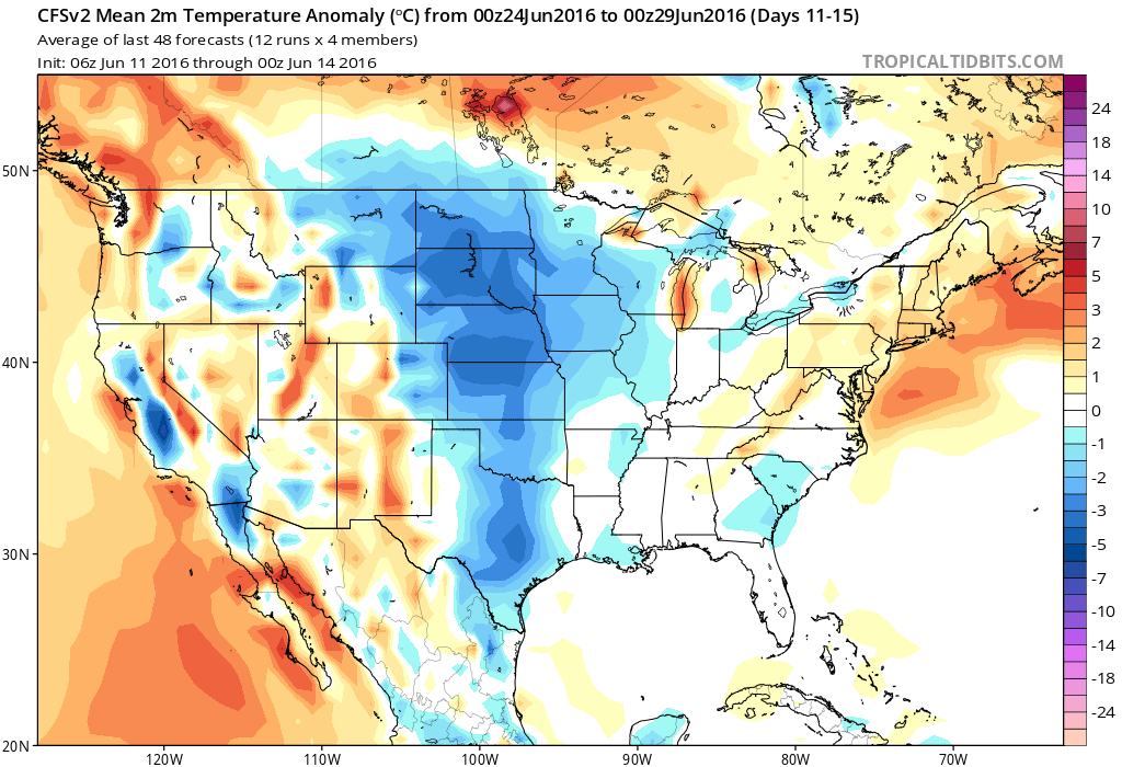 CFSv2 model forecast surface temperature anomaly for June 24-29.