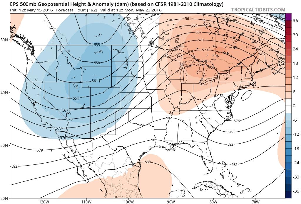 Euro ensemble 500 mb forecast for next Monday, showing that trough kicking across Colorado