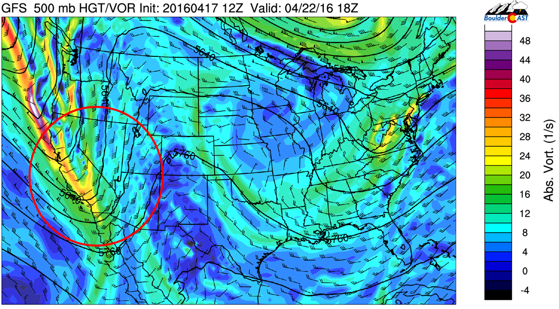 GFS 500 mb vorticity for Friday