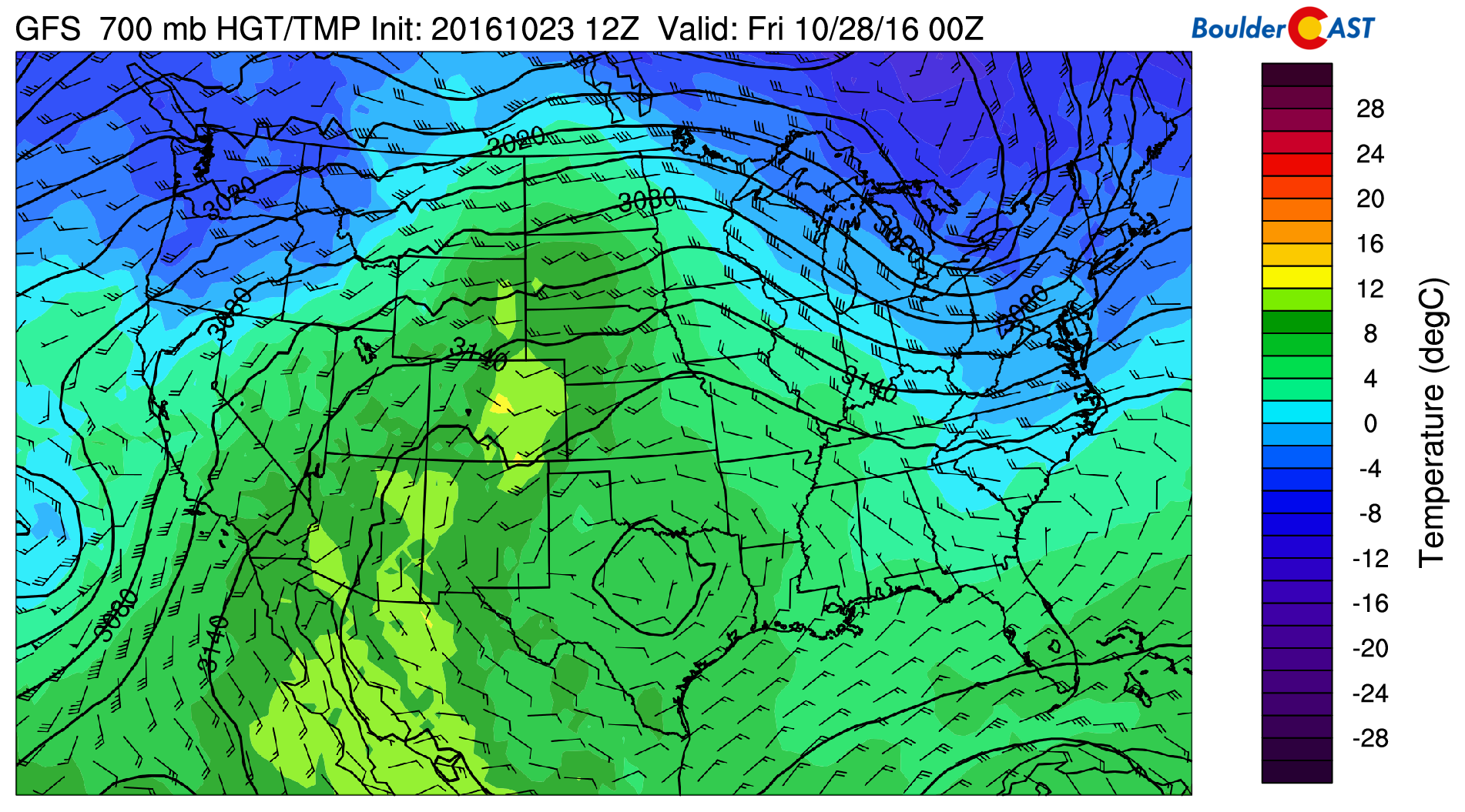 GFS 700 mb temperatures for Thursday, about 5 degrees warmer than Wednesday.