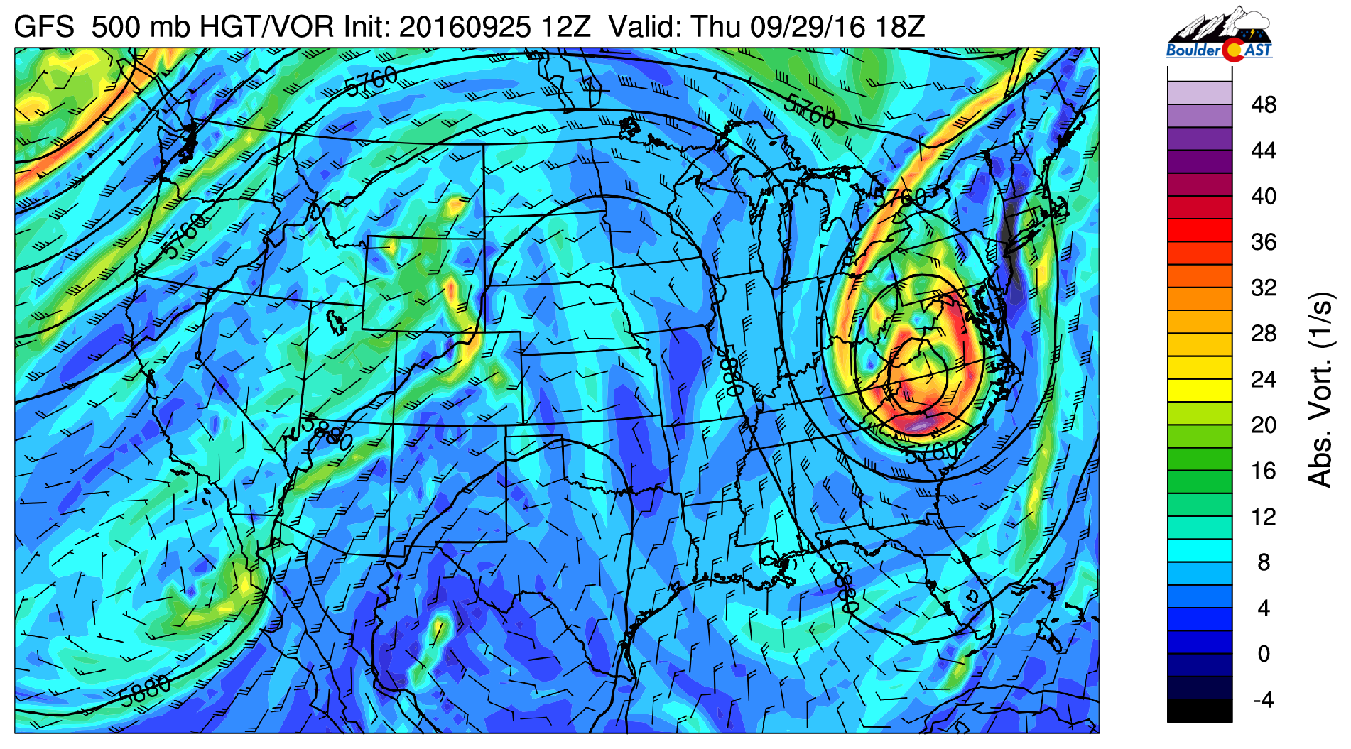 GFS 500 mb vorticity and wind for Thursday