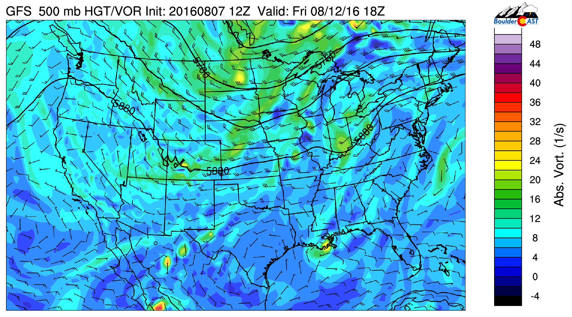 GFS 500 mb vorticity map for Friday, showing northwest flow in place