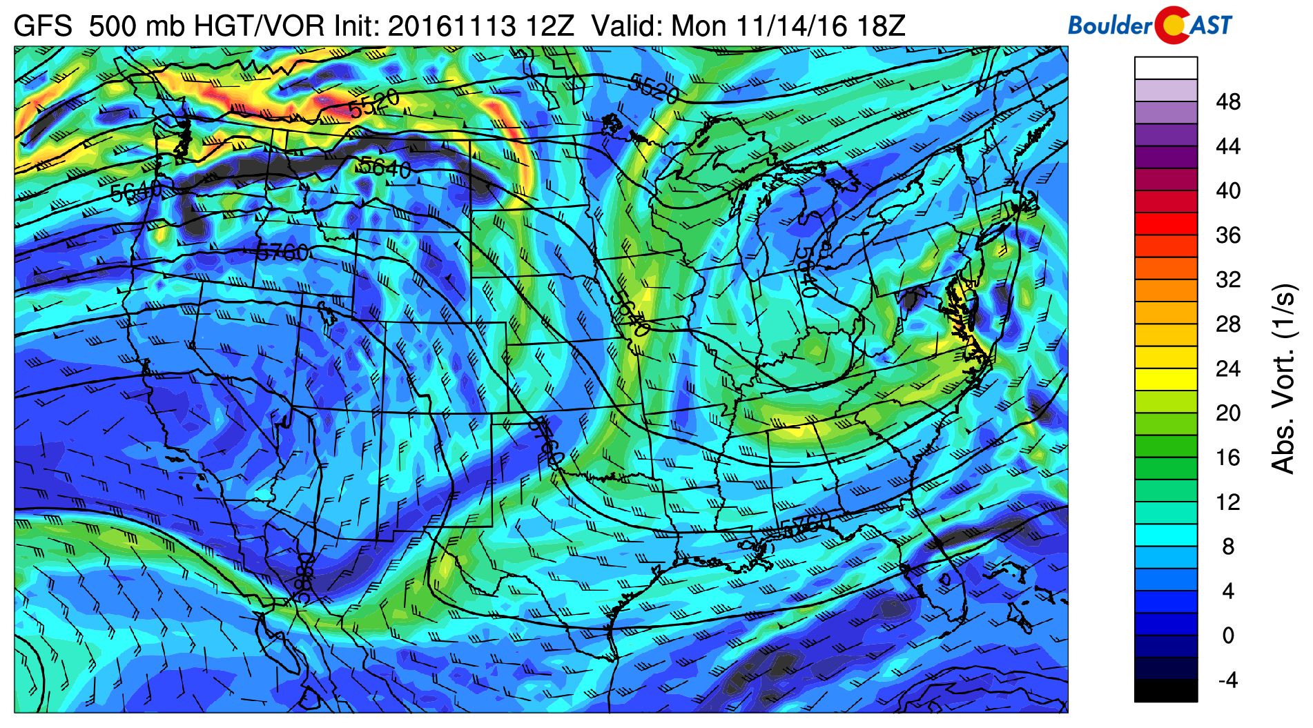 GFS 500mb vorticity map for Monday afternoon