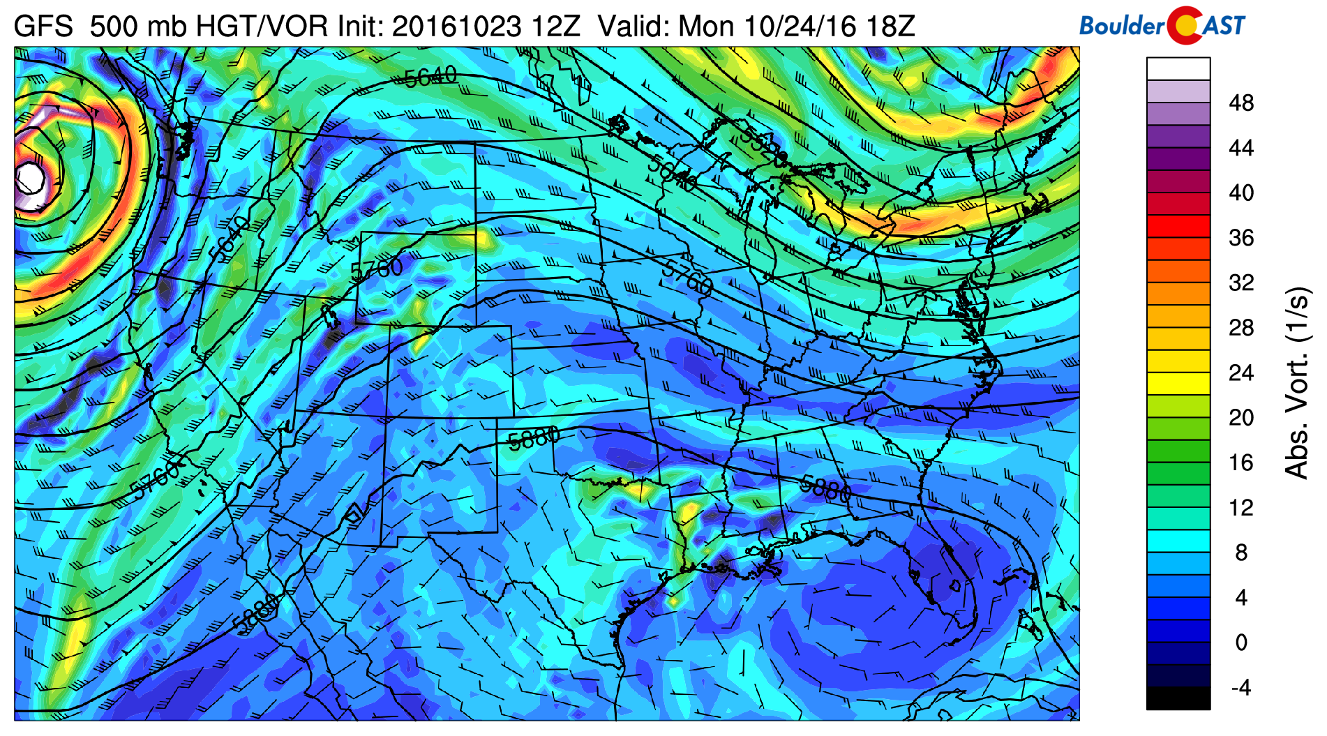 GFS 500 mb vorticity map for Monday
