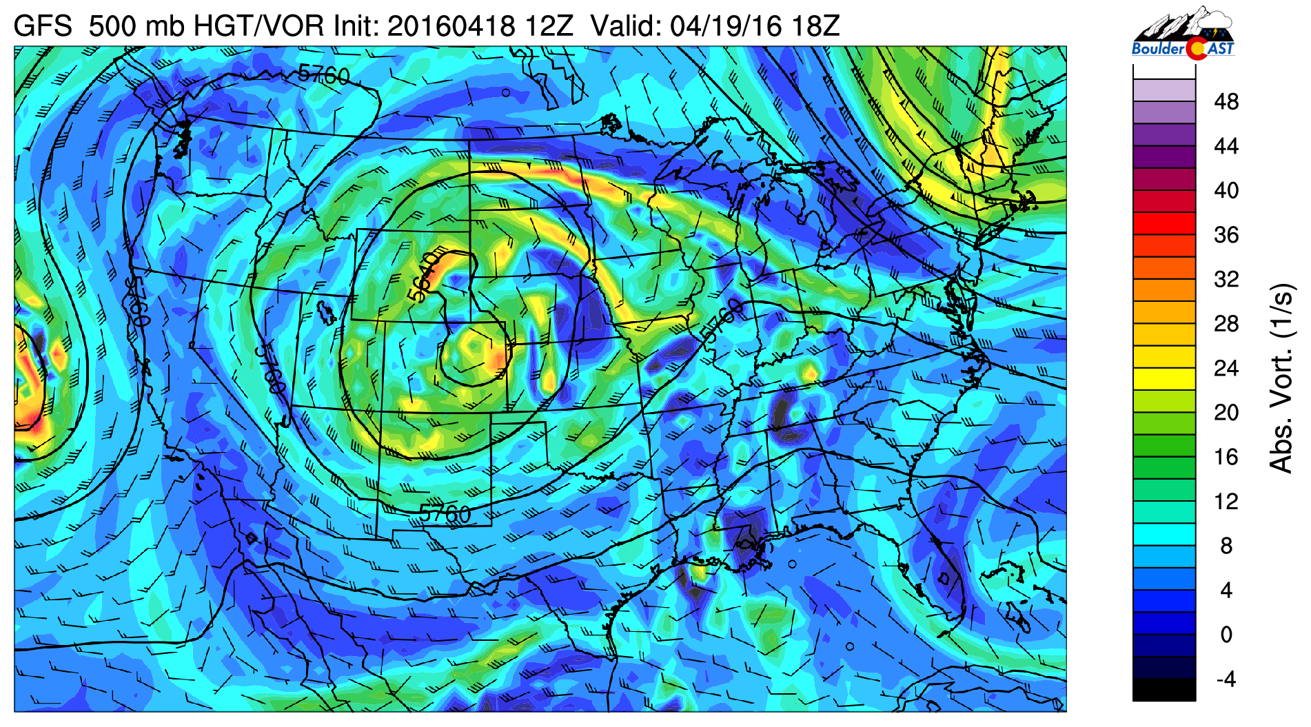 GFS 500 mb vorticity map for this afternoon, showing the upper-low still over northern Colorado...