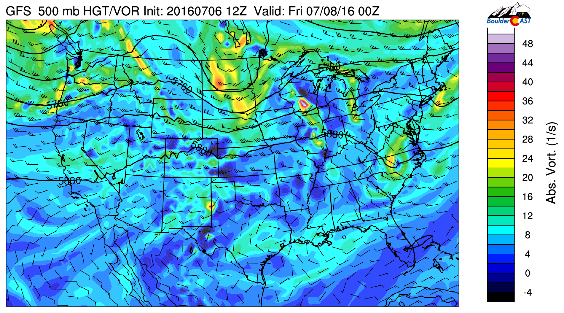 GFS 500mb vorticity for this afternoon
