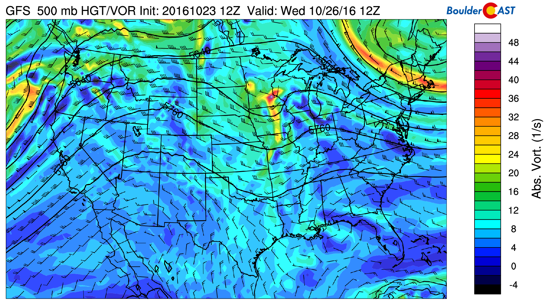 GFS 500 mb mid-level flow for Wednesday