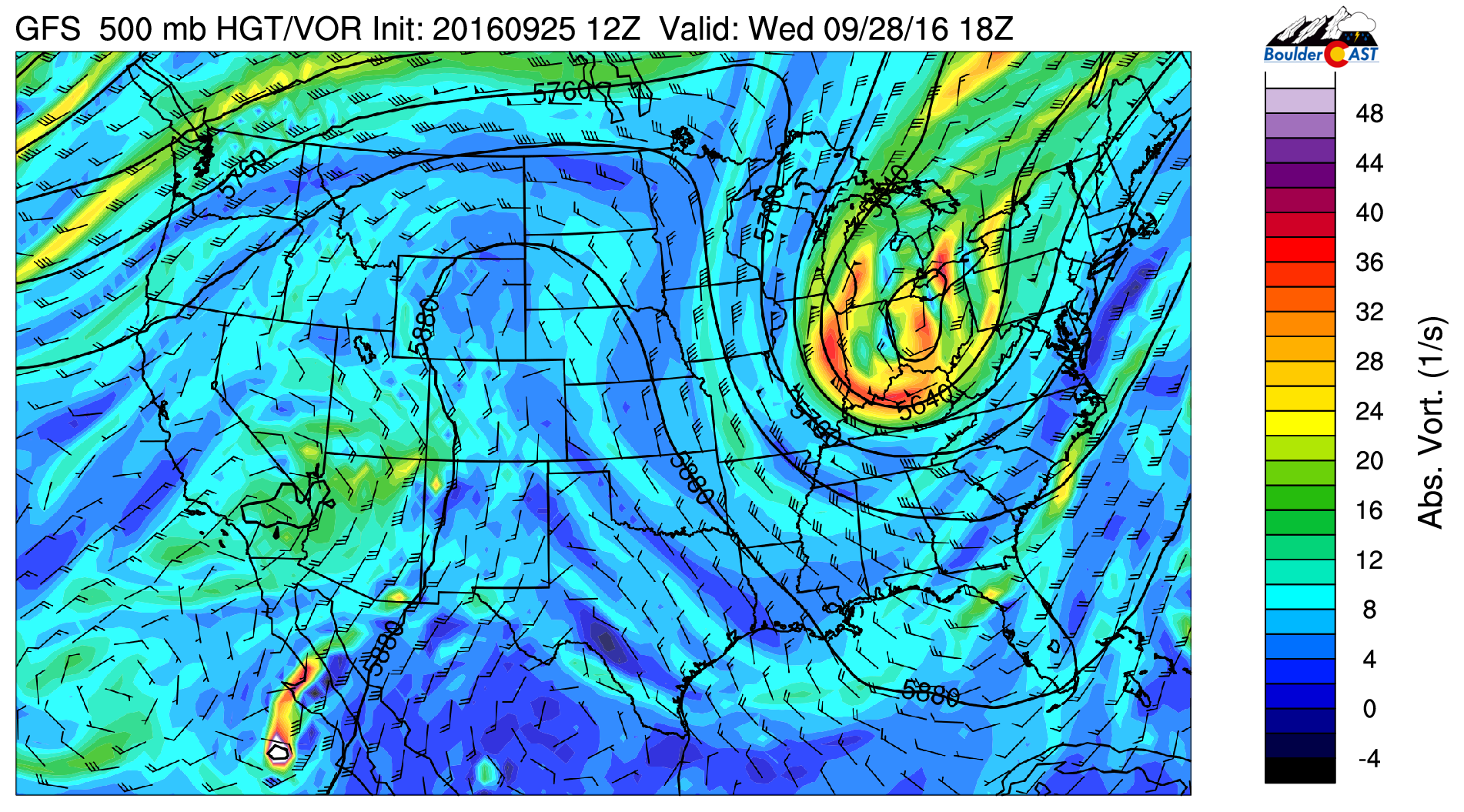 GFS 500 mb vorticity and wind field for Wednesday