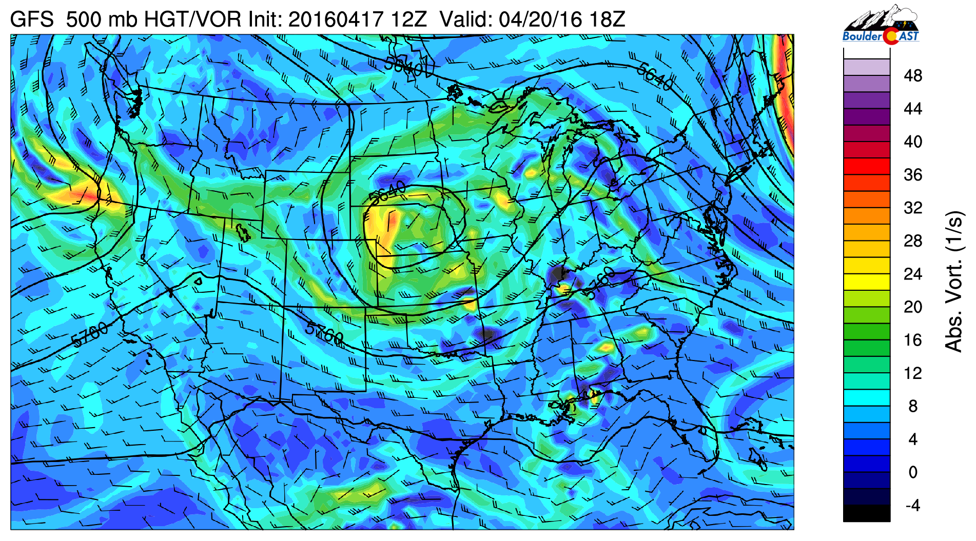 GFS 500 mb vorticity for Wednesday