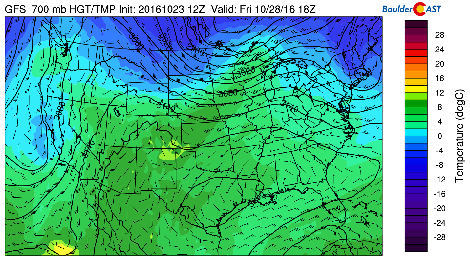GFS 700 mb temperature pattern on Friday