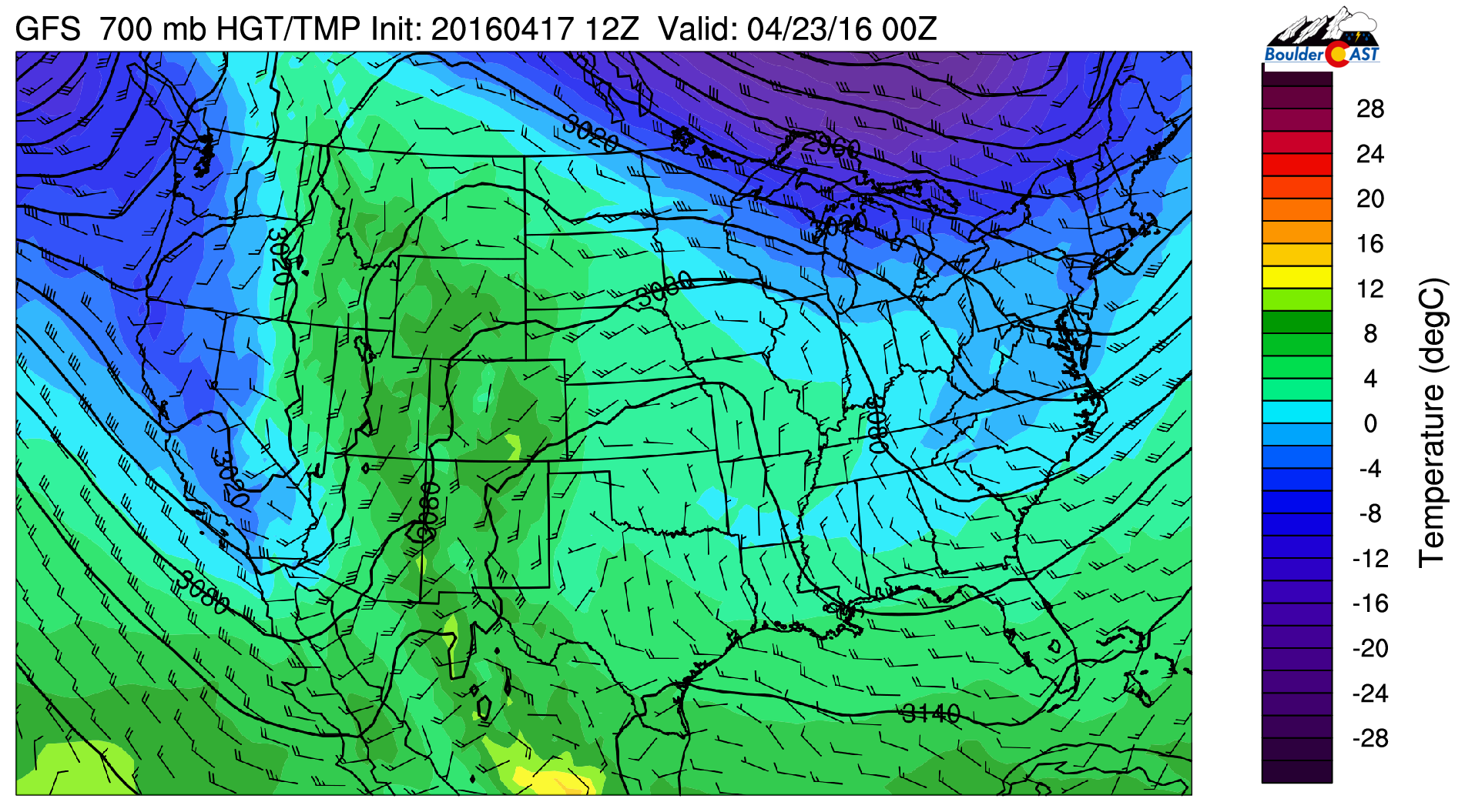 GFS 700 mb temperatures for Friday