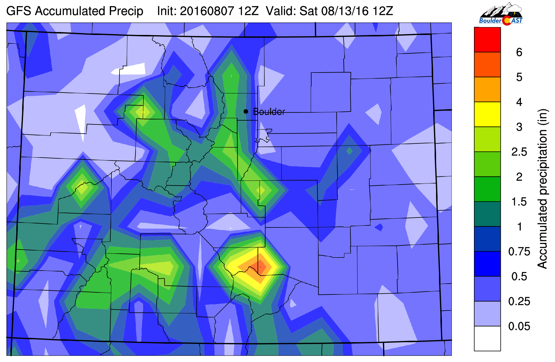 The GFS total accumulated precipitation map for Colorado through Friday shows a decent chance of rain throughout the week
