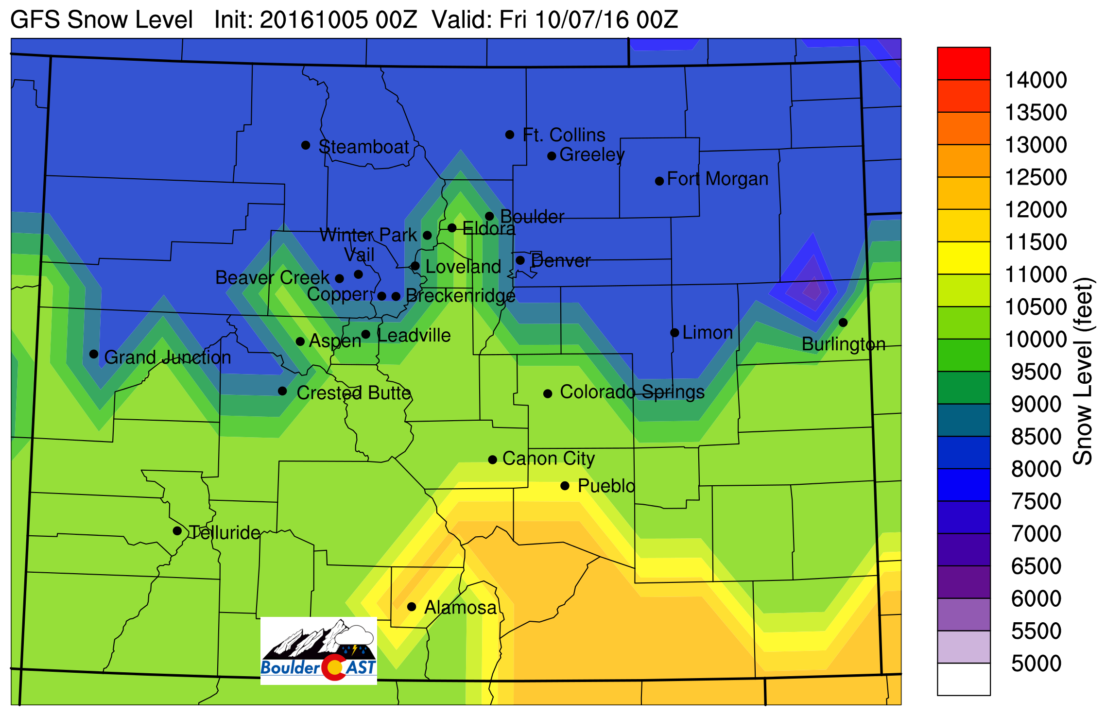 Forecast snow level for Thursday afternoon (using in-house algorithms and GFS model data)