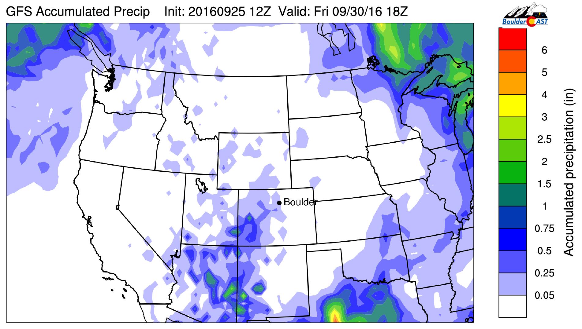 GFS accumulated precipitation through Friday