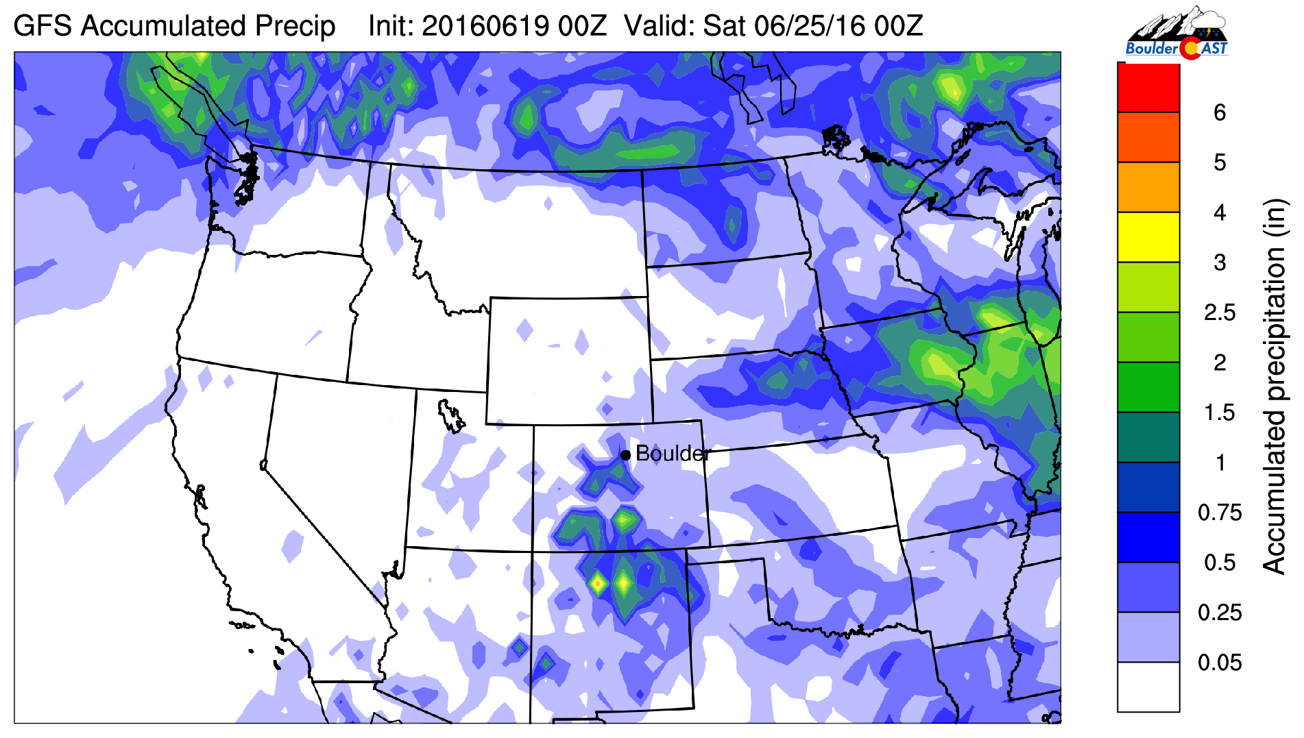 GFS total accumulated precipitation through Friday. Precipitation will mostly be confined to the Mountains