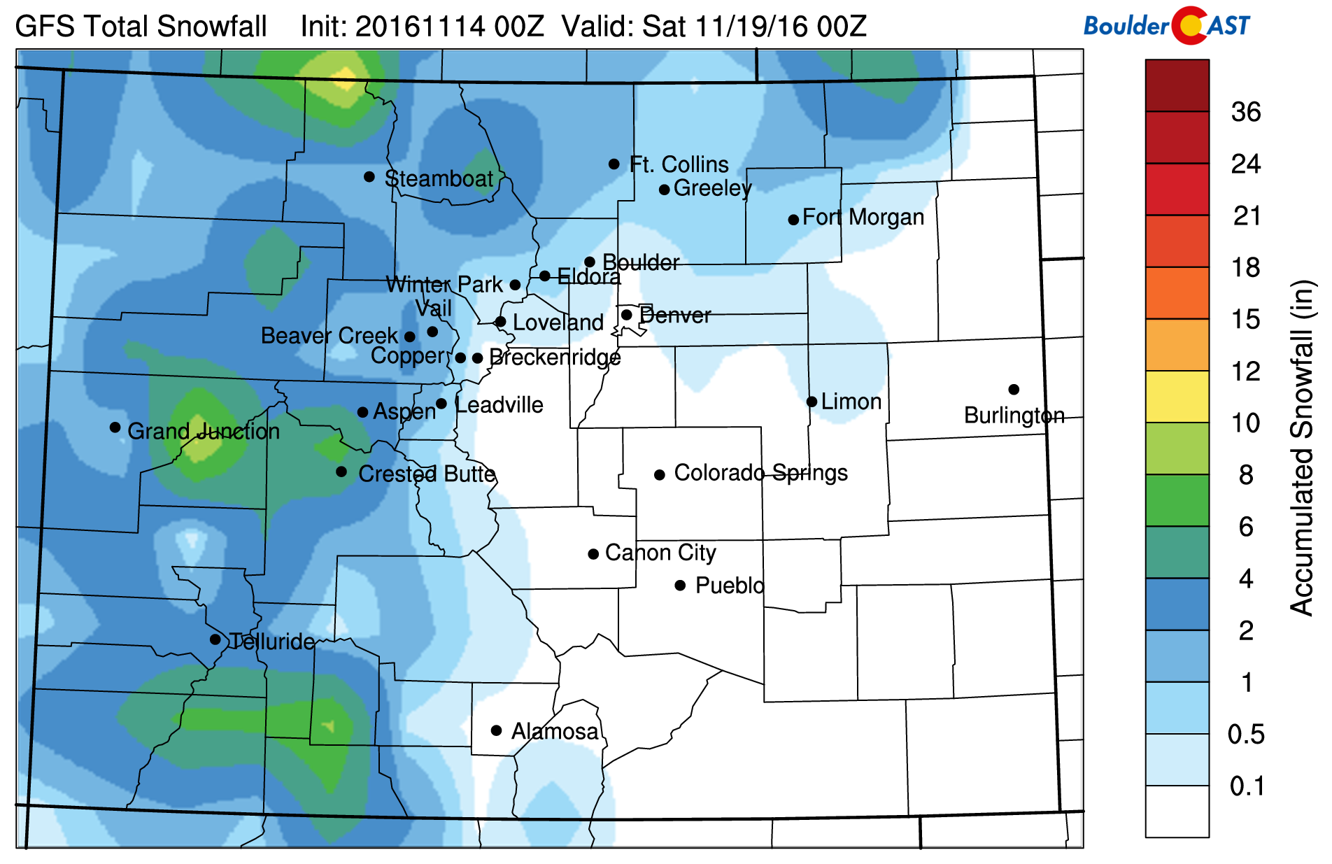 Current snowfall forecast using our snowfall algorithms and GFS data. Light snow may be possible on the Plains