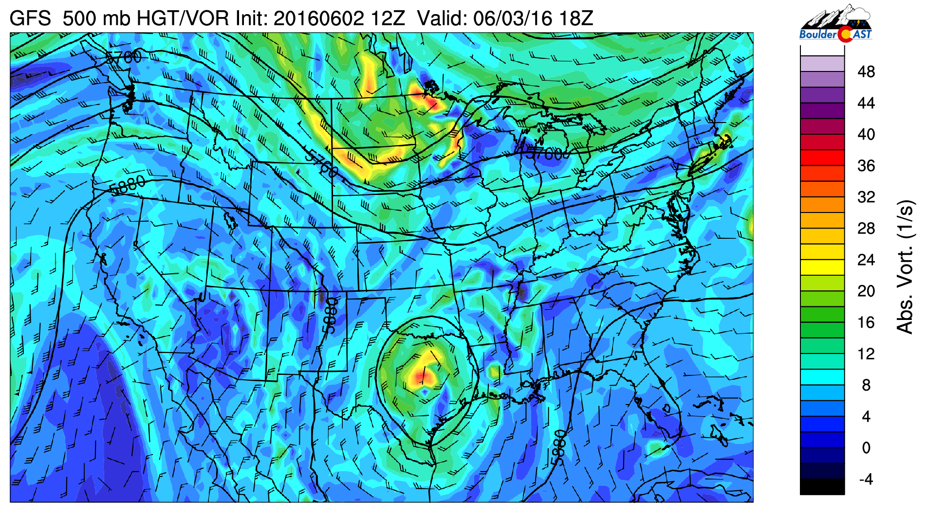 GFS 500 mb vorticity for today