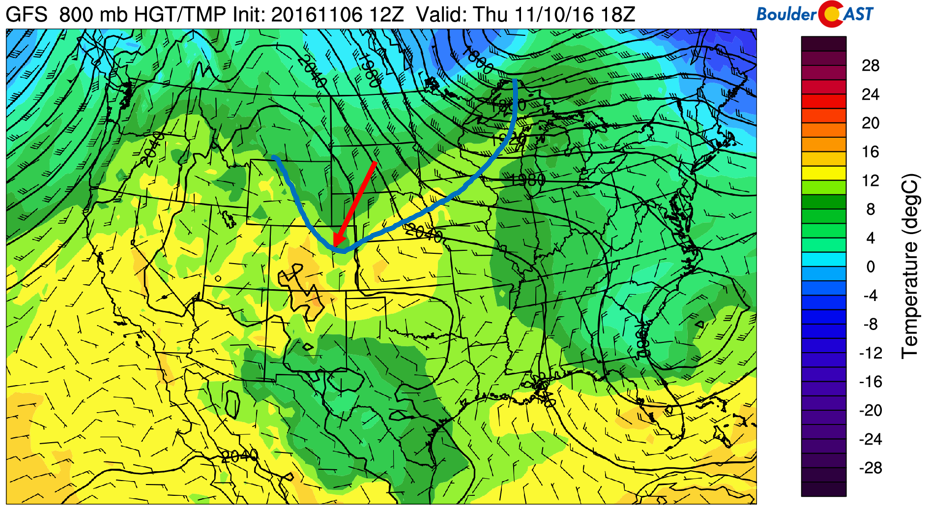 GFS 800 mb low-level temperature and winds for Friday