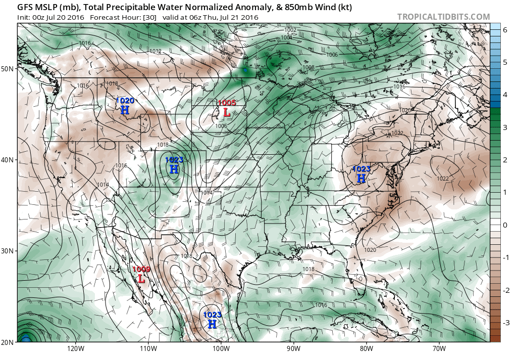 Moisture anomaly for today showing the monsoon plumes sprawled across Colorado