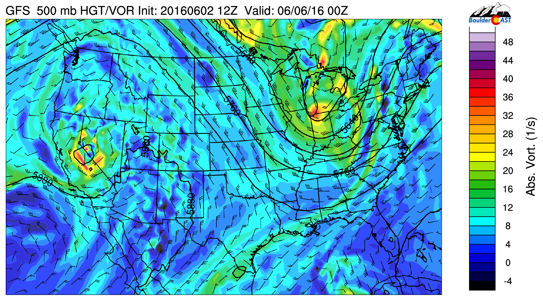 GFS 500 mb vorticity for Sunday night