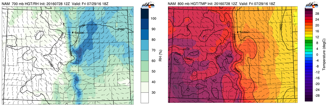 700 mb relative humidity (left) and 800 mb temperature (right) for this afternoon