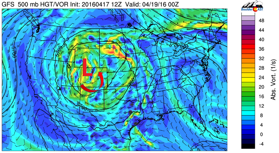 GFS 500 mb vorticity for Monday evening
