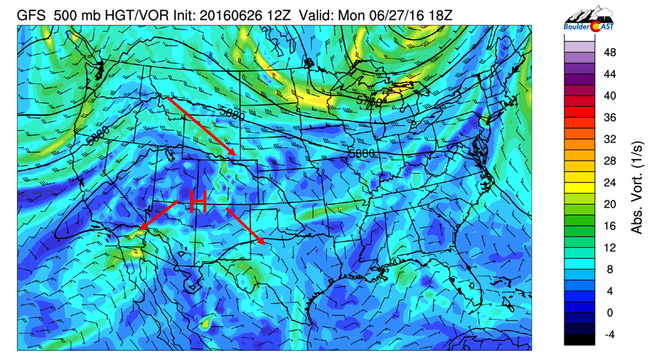 GFS 500 mb vorticity for Monday