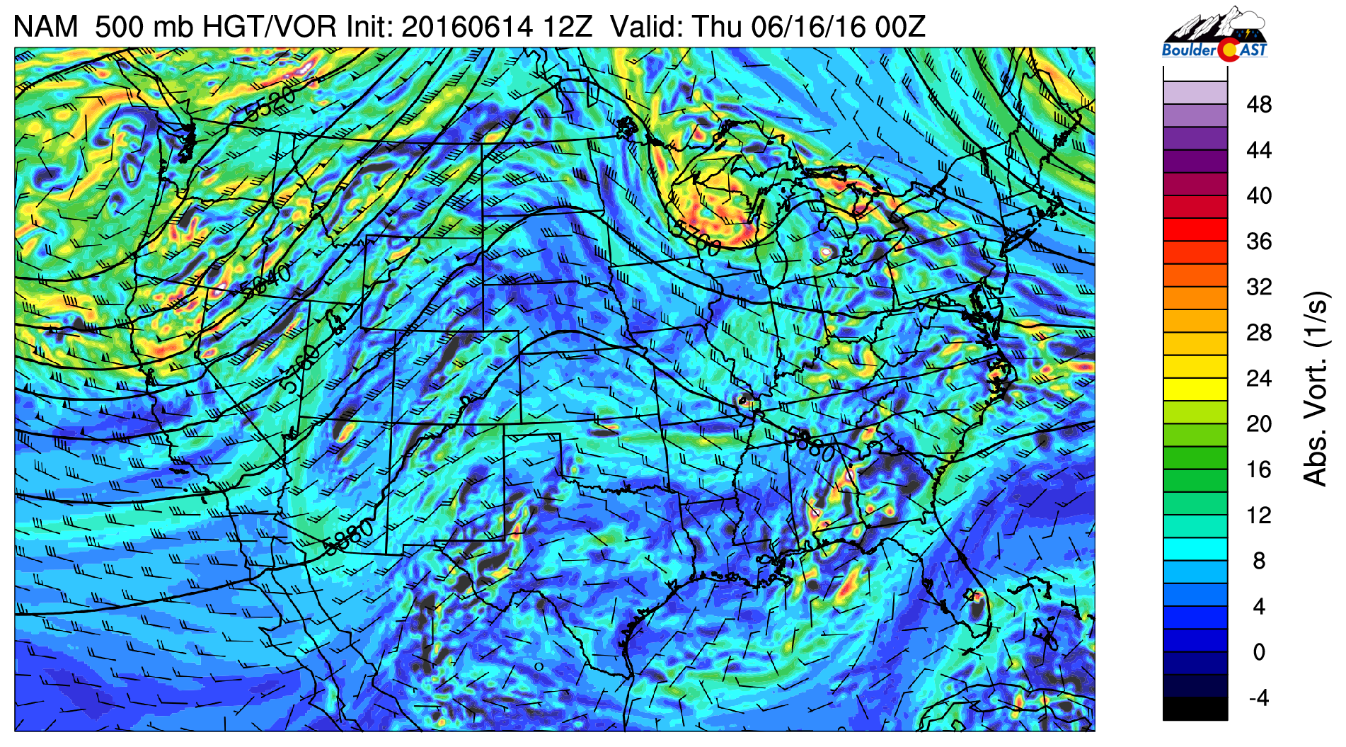 GFS 500 mb vorticity map for this afternoon