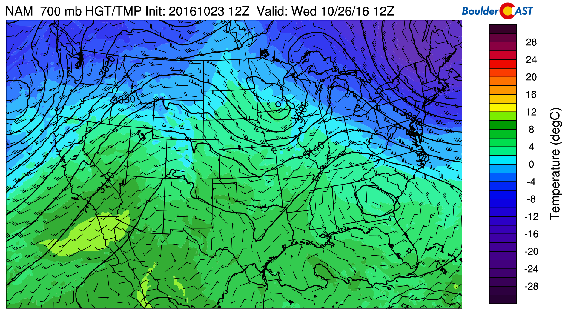 GFS 700 mb temperatures and wind for Wednesday morning, showing the cooler air and northerly flow