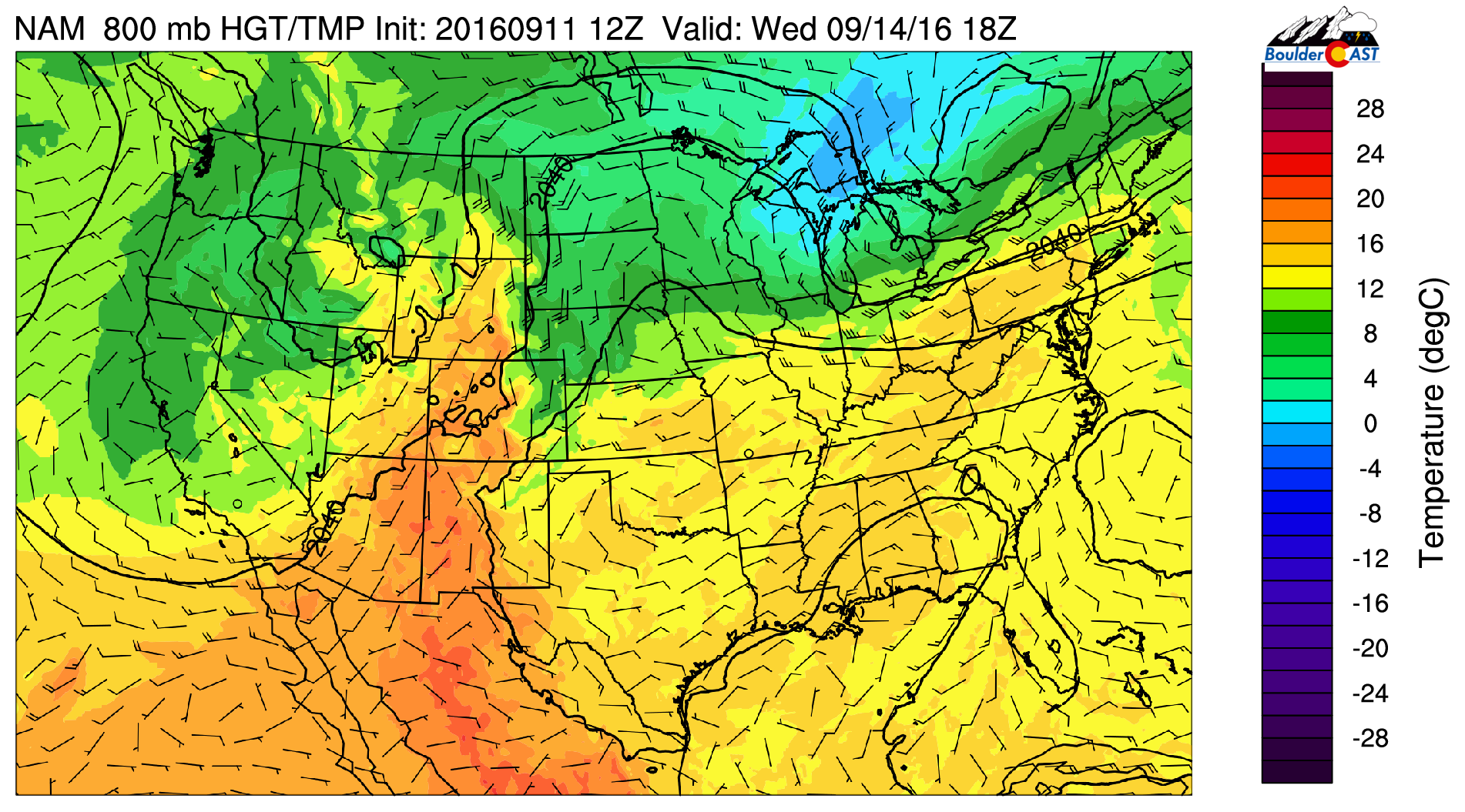 NAM 800 temperatures and winds for Wednesday