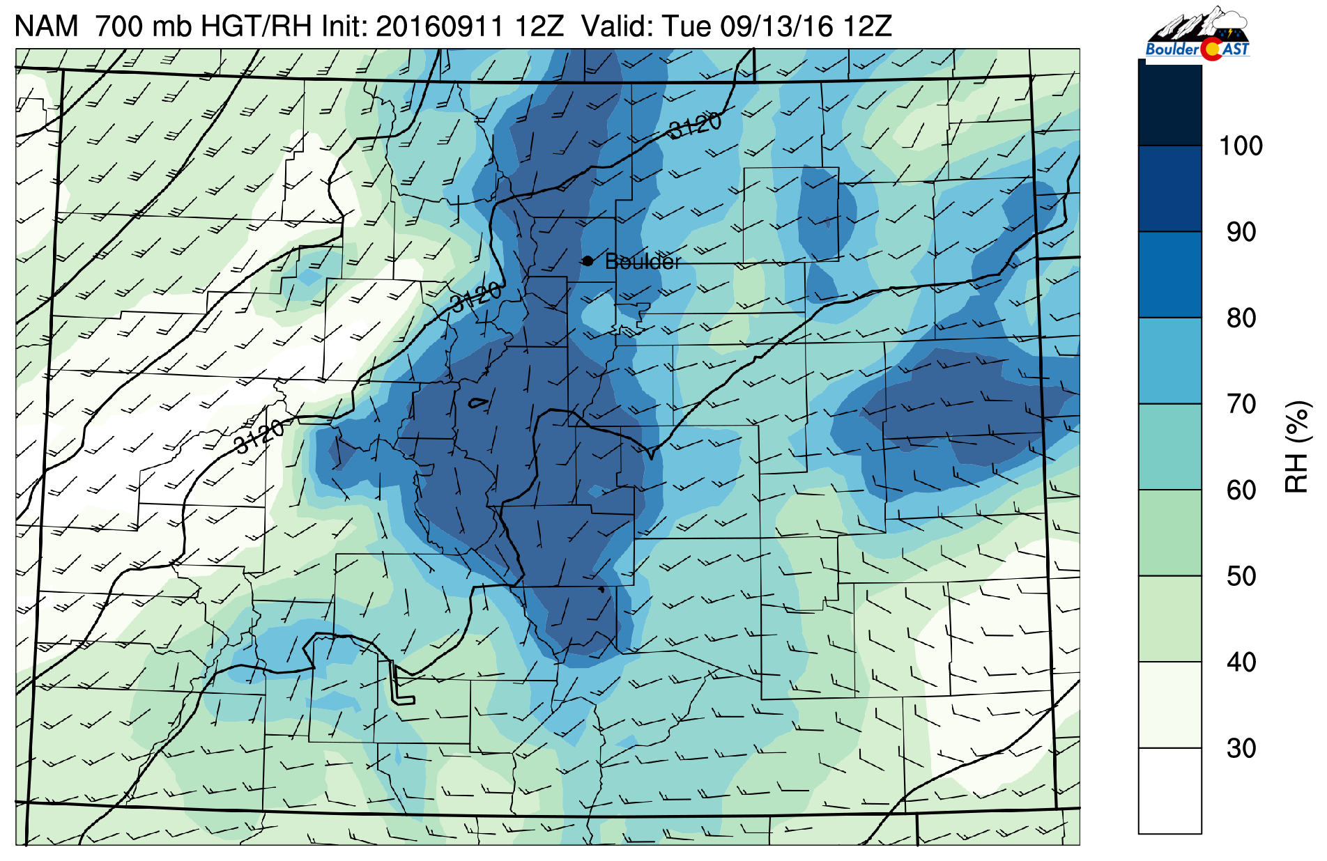 NAM 700 mb relative humidity and wind speeds for Tuesday morning