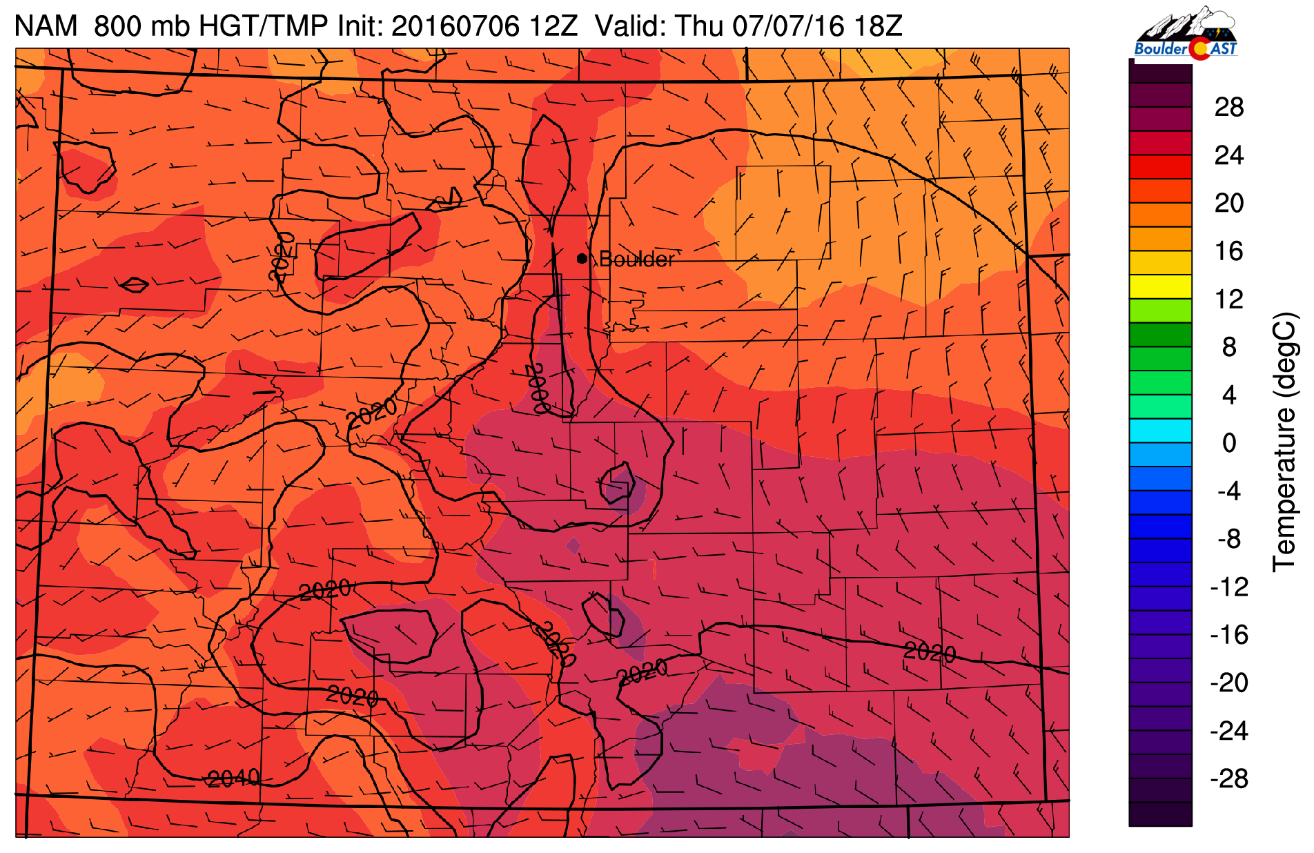 800 mb temperature map for noon today