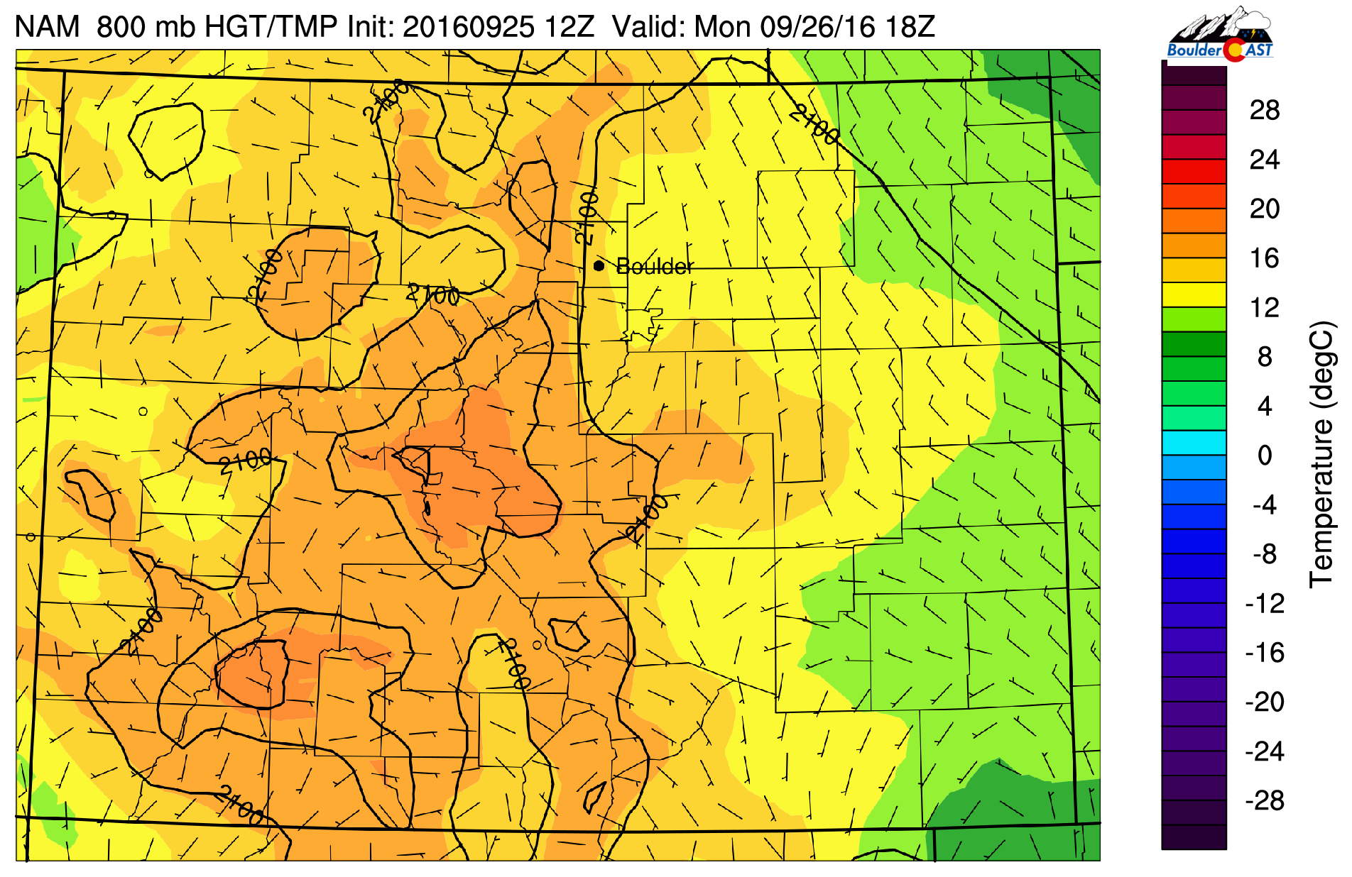 NAM 800 mb temperature and wind pattern today