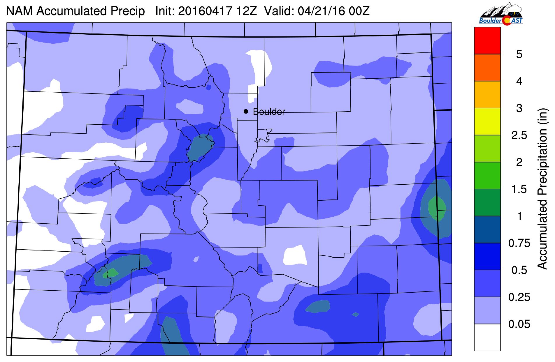 NAM model precipitation accumulation through Wednesday