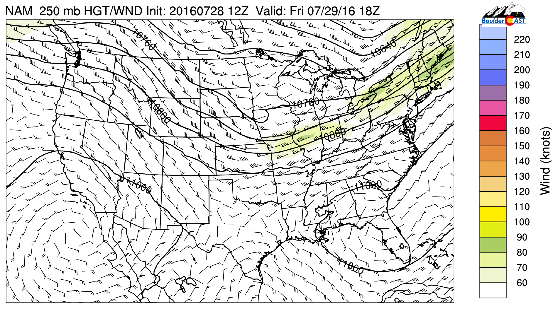 NAM 250 mb heights and winds for this afternoon