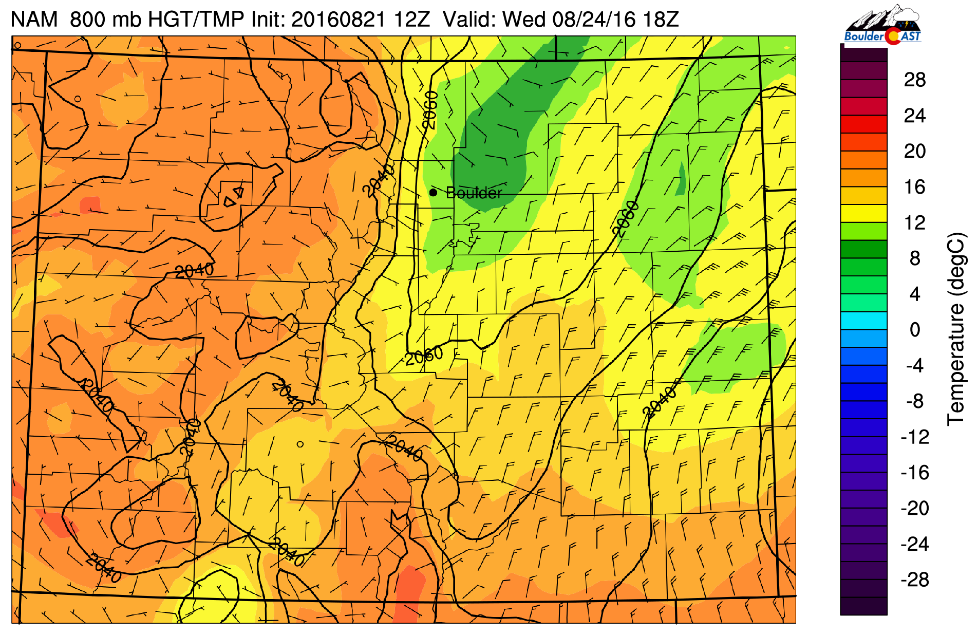 NAM forecast of near-surface temperature and wind Wednesday afternoon