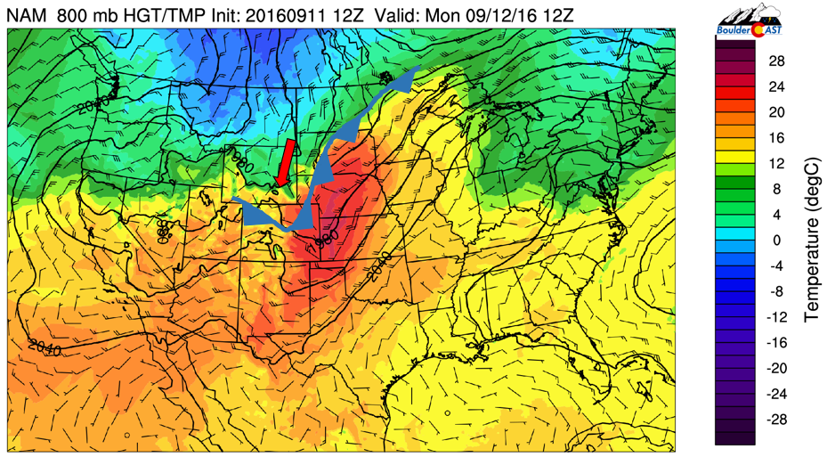 NAM 800 mb temperature and wind for this morning