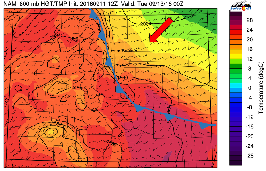 NAM 800 mb temperature and wind this evening over Colorado