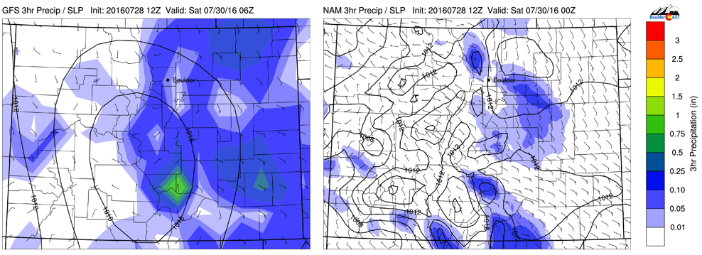GFS (left) and NAM (right) model forecasted 3-hr precipitation for this evening and tonight