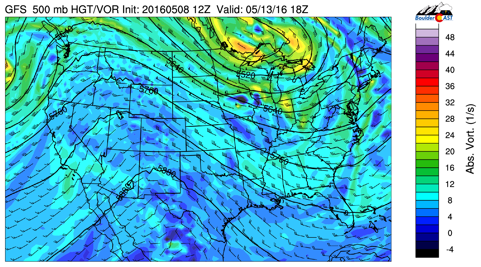500 mb vorticity from the GFS for Friday